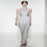 Wholesale 2014 Fall Plus Size Cheap Elegant Halter Empire Bridesmaid Dress Silk Ribbon Sleeveless BacklessFloor Length Party Dress Prom Dress