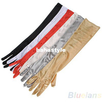 Wholesale 1 Pair Women Arm Long Satin Finger Elbow Gloves Evening Party Bridal Wedding Opera Formal Gloves