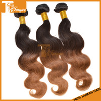 100g/pc European Hair Two Tone Color1B-30 2014 6A Hot Selling Body Wave Ombre Human Hair Extension Real Hair Two Tone Color 1B30 Wholesaler European Hair Weaves Colored Hair Weft