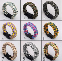 Wholesale 84 Colors Fedex Free Top Quality Outdoor Survival Bracelet Parachute Cord Emergency Paracord Camping Bracelet with Whistle Buckle CW0129