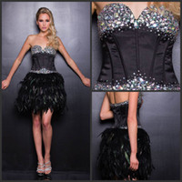Wholesale Sexy Sleeveless Strapless Sweetheart A Line Party Homecoming Dresses Short Mini Black Feather Rhinestones Beads Cocktail Dresses W148425