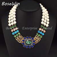 Chains bead chain necklaces designs - 2014 New Design Fashion Gold Chain White Resins Beads Multicolor Glass Crystal Necklaces Women Statement Jewelry CE2253