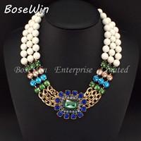 2014 Nouveau Design de Mode Chaîne en Or Blanc de Résines Perles Multicolores en Verre de Cristal Colliers des Femmes Déclaration de Bijoux CE2253