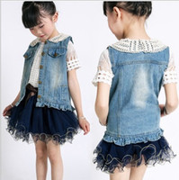 Girl denim waistcoat - Autumn clothing girls waistcoat korean kids cowboy vest coat children cute lapel lace edge sleeveless coat size SM259