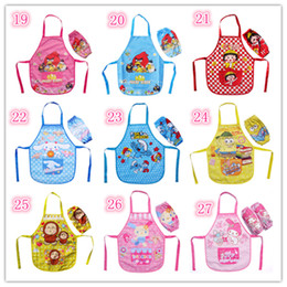 Wholesale 28 styles Kids boys girls Childrens Cartoon Cooking Art Painting Smock Apron Set Sleeveless Aprons Oversleeves Angry Birds spongebob