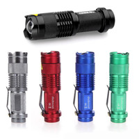 Wholesale 5 Colors Flash Light LM CREE Q5 LED Camping Flashlight Torch Adjustable Focus Zoom waterproof flashlights Lamp DHL free