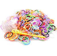 5-7 Years Multicolor Plastic DIY Rainbow Loom Kit Glow in the Dark Dual Color Polka Dot Glitter Bands Bracelet Wristbands (300pcs bands + 12pcs clips + hook ) Kids Gift