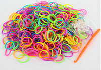 5-7 Years Multicolor Plastic DIY Rainbow Loom Kit Glow in the Dark Dual Color Polka Dot Glitter Refill Bands Bracelet (300pcs bands + 12pcs C S-clips + hook ) Kids Gift