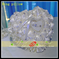 Wholesale Wedding Favors Ring Pillow With Transprent Ring Box Color Heart Design Rose Flower Special Unique Ring Pillow Decorations Favor New