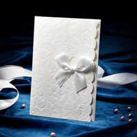Wholesale HOT FASHION Embossed Wedding Invitations Cards With Customize Printing With Satin Bow Set of