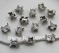 Bead Caps Fashion Beads Free shipping 50pcs 13x11mm antique silver baby car shape big hole charms fit European snake bracelet jewelry DIY