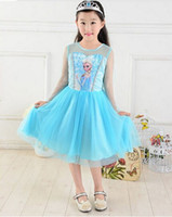 TuTu Summer A-Line summer 2014 party princess clothes costume lace long blue kids girls fantasia elsa brand frozen dress fast shipping