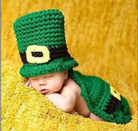 Unisex Winter Hand-knitted Newborn Baby Girl Boy Crochet Knit Costume Photo Photography Prop Outfit Green hat + chlamydia