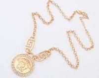 Wholesale Good Quality Vintage Link Chain cm Zinc Alloy Pendant Necklaces Sliver Gold Yellow Big Round Avatar Statement Necklace