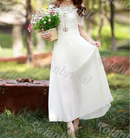A-Line Model Pictures Bateau women's white beach dress chiffon dress lace bud silk wedding dress boho silk dress long dress skirt maxi dress cotton skirt