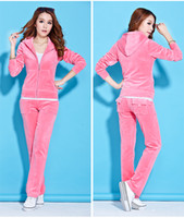 Wholesale High Quality Autumn Velure Tracksuits With Long Sleeve Hooded Sportswear Clothing Set For Women Girls Jogging Suits