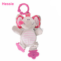 Hessie kawaii - OP Hot sale New Baby Plush Teether Teething Toys Kawaii Pink Elephant Toy Baby Products Girls Bed Rattle Stroller Toy