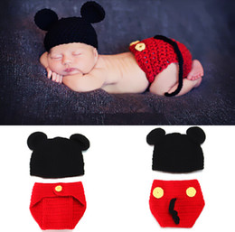 Wholesale Retail Mickey Designs Baby Crochet Hat amp Pants Set Handmade Infant Photography Props Costume Boys Crochet Beanies