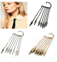 Wholesale New Style Lady s Ear Cuff Fashion Trends Pendant Ear Clip Exaggerated Tassel Rivet Pattern Earrings