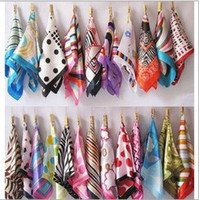 Wholesale 2015 Sping And Autumn Female Satin Scarf Square Scarves Printed cm