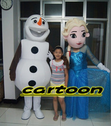 Wholesale Real Pictures Deluxe Queen Elsa And Olaf Frozen Mascot Costume Character Promotions