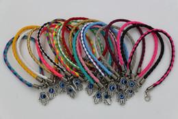 Hot sell ! 60pcs Leatheroid Braided Fatima Hand Rotation Evil Eye Charms Bracelets 57 - color