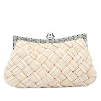 Wholesale 2014 New Women s Embellished Basket weave Evening Bag Rhinestone Knitted Pleated Chiffon Bridal Clutch Handtasche Sac a Main Bolsas Colors