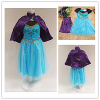 TuTu Summer Ball Gown Girls Summer Frozen Anna Dresses with cape Party Princess Elsa Dress Vestidos De Menina Costume Cosplay Fantasia Clothes 5pcs
