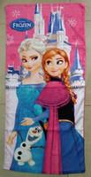 Wholesale 120 cm FROZEN Princess Towel Frozen Elsa and Anna cotton towels bathroom children beach towel kids bath towel