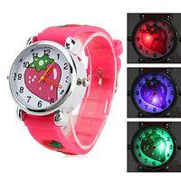 Wholesale 10pcs cute little girls LED watch Children s Strawberry Style Silicone Analog Quartz Wrist Watch with Flashing LED Light