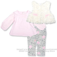 Cheap Brand Vitamins Baby 3pcs set Baby Girls clothing sets Rose Pink Vest Coat Leopard Pant Cut Outerwear Children Kids Spring Summer