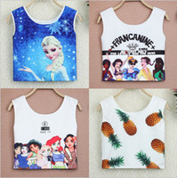 Wholesale 8 COLOR Cozy Slim Fitness Camisole Women Galaxy Cartoon Frozen cartoon Tank Top Digital Camis Frozen A180
