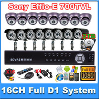Wholesale 16CH Full D1 P HDMI security DVR Sony HAD CCD II TVL camera CCTV systems Support G WIFI extension with TB HDD