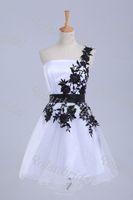Wholesale White and black lace short mini dress hot sex mini prom dress ball gown dress cocktail evening dress