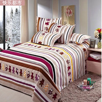 Adults single bed - cotton mix sheets slanting stripe print single bed sheets bedding separate plant pattern my space