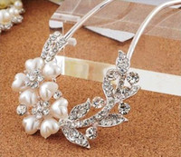 Wholesale 2014 newest pearl tiaras Hair Jewelry hair Flowers Brooches Pins bridal hair accessories Pearl spiral clip wedding hair accessories