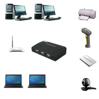 Yes Stock OEM New FY1224 4 Ports USB HUB Lan Network Server for PC HDD Webcam Printer Scanner Freeshipping