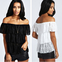 Women Slash Neck Regular 2014 Spring Autumn Cute Cascading Ruffles Lace Top T Shirt T25191 Off The Shoulder Casual Knitted Hollow Out T-Shirt Ladies Tees Girl Tops