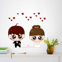 Graphic vinyl PVC Cartoon Cartoon wall stickers romantic couple warmly decorated bedroom bedside cabinets windows