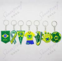 Wholesale 100pcs World Cup brazil trophy armadillo mascot pendant souvenir keychain freeshipping