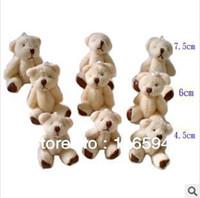 Teddy Bear White Plush wholesale 4.5CM=1.77inch cheap white mini plush teddy bear phone pendant cartoon bouquet doll wedding gifts