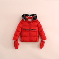 Wholesale Black white red colors children Coat winter girls boys outwear with gloves girl boy unisex cotton padded clothes With hood velvet collar