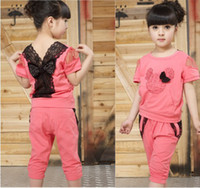 Girl Spring / Autumn Short Korean version of the new children's clothing Children with short sleeves Suit for girls Modal cotton Cropped Trousers