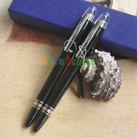 Wholesale 2Pcs Crocodile Black And Silver M Nib Fountain Roller Ball Pen Diamond Star
