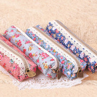 other Pencil Bag stationery items for schools, gift, awar Retro Lace Fabric Pencil Box Case Bag 8pcs lot Zipper Korean Pen Cases for School Kids Fashion Floral Organizer Cosmetic Pouch