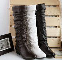 ladies leather boots - new fashion sexy female knight leather ladies flat knee high boots for women and women s autumn winter shoes