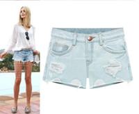 Women Straight Regular new summer 2014 for Women vintage White shorts jeans feminino Ripped Hole short jeans denim female distress cutoffs shorts