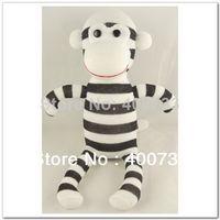 Wholesale Christmas New Year Gifts handmade DIY stuffed sock animals doll baby toys sock monkey black white
