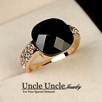 black onyx rings - 18K Rose Gold Plated Square Black Onyx and Austrian Rhinestone Inlaid Lady Fashion Finger Ring Gold Silver