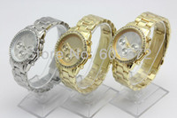 Unisex Auto Date Round Freeshipping 100pcs lot geneva style 5colors wrist watch fashion,withot logos,metal band and case,precise quartz movement